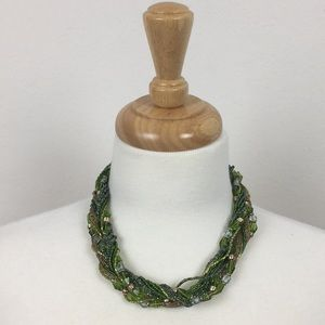 Coldwater Creek Green Beaded Statement Necklace